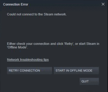 Could Not Connect To Steam Network Error
