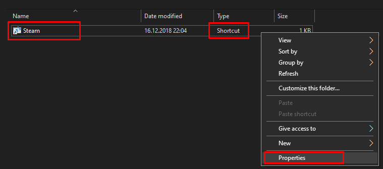 Could Not Connect To The Steam Network Shortcut Properties