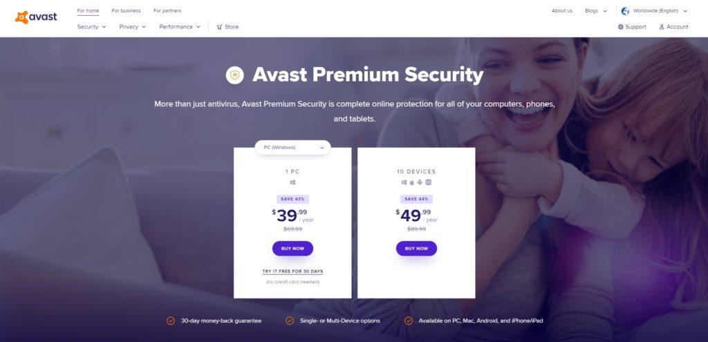 Avast Premium Security Website