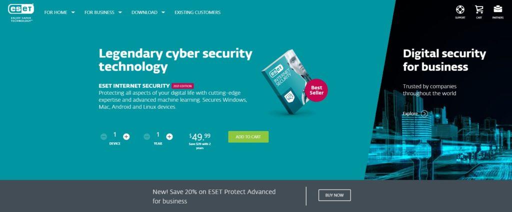ESET NOD32 Antivirus Website