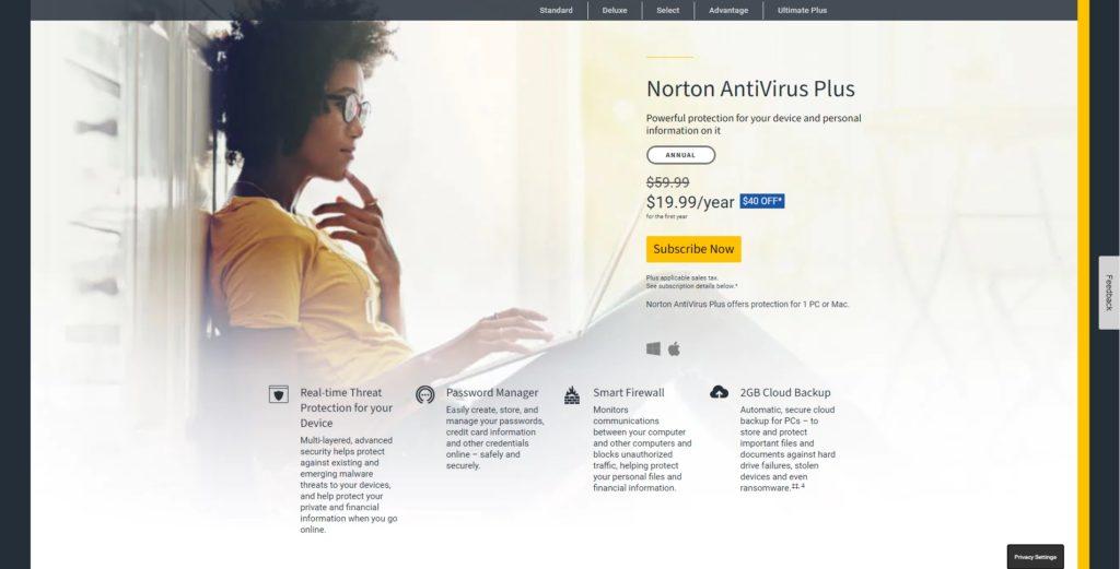 Norton AntiVirus Plus Website