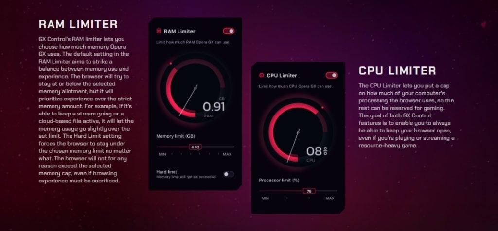 Opera GX RAM and CPU Limiter