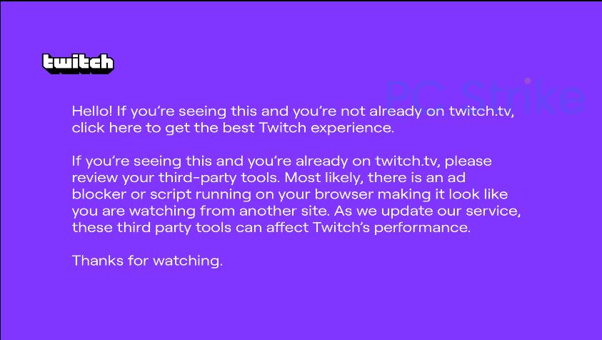 Twitch Purple Screen AdBlock uBlock Origin