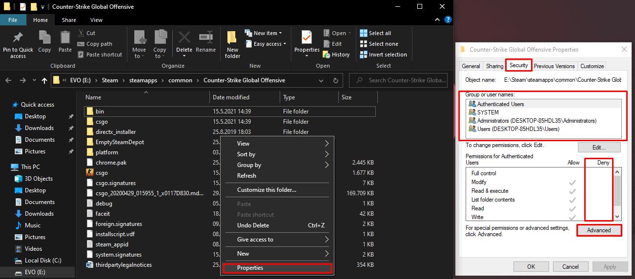 Changing Settings in Windows Properties Menu Security tab
