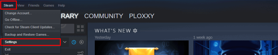 Clicking Steam and Settings from Steam menu