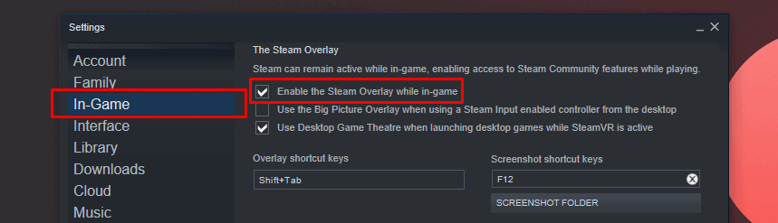 Enable Steam Overlay Setting