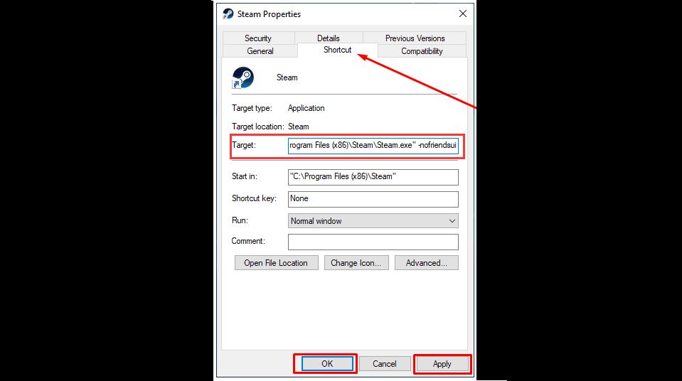Modify Steams Shortcut Properties