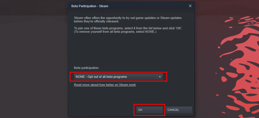 Opting Out Of Steam's Beta Mode