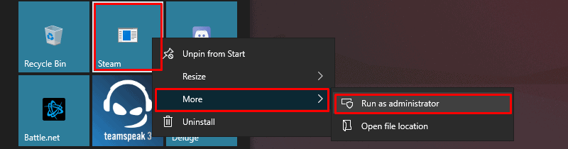 Run Steam as Administrator if Steam is pinned