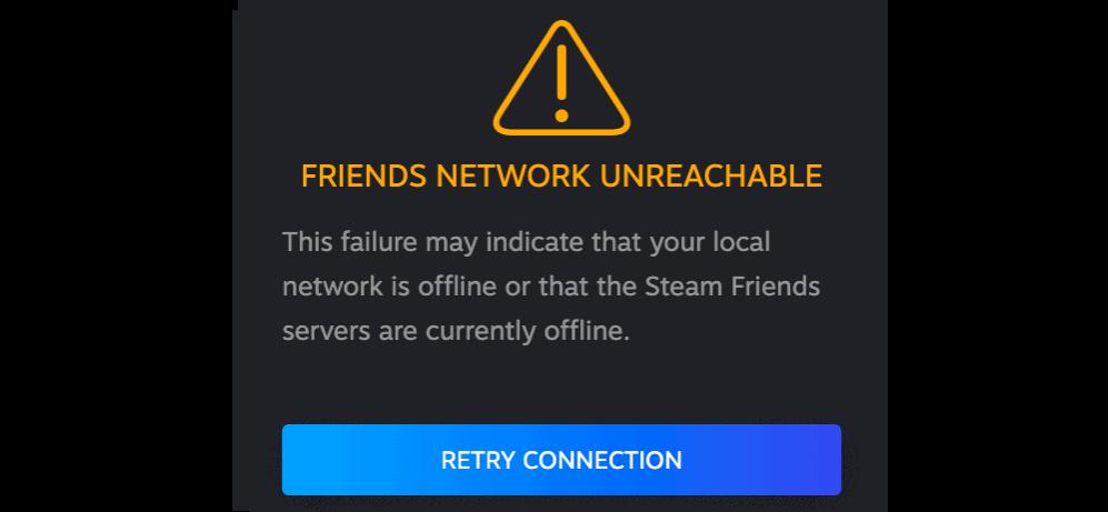 Steam Friends Network unreachable or down