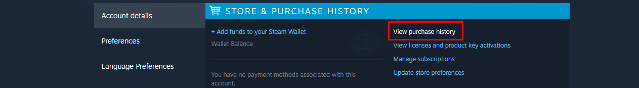 Steam View purchase history