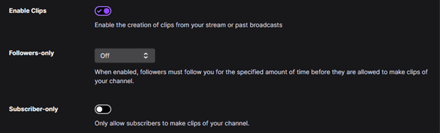 Twitch Enable Clips Settings
