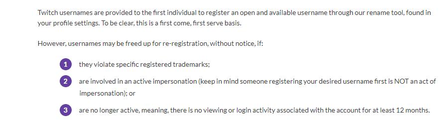 Twitch Username Policy