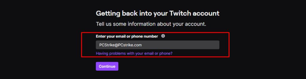 Twitch password reset