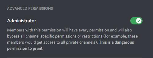 Discord Administrator permission