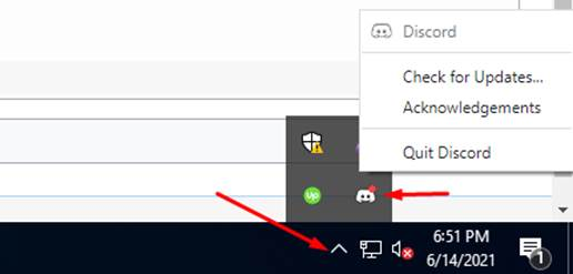 Discord icon in Windows system tray