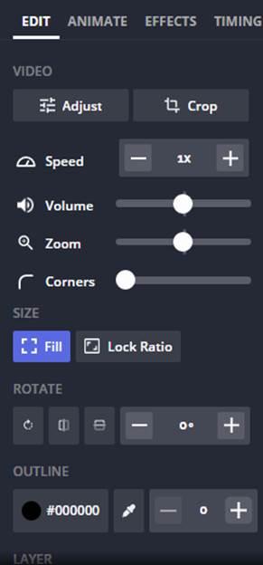 Kapwings Editing settings