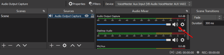 OBS Audio Output Capture audio muting