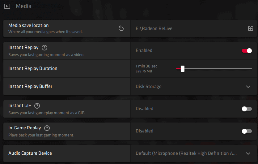Radeon ReLive tab Instant Replay