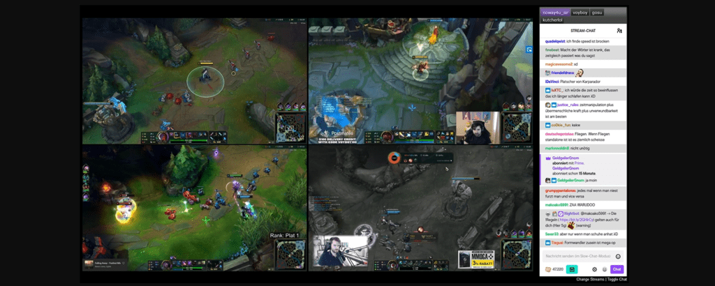Squad Streaming four different perspectives in League of Legends