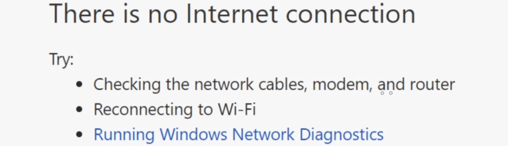 """""""There Is no Internet connection"""" message"""