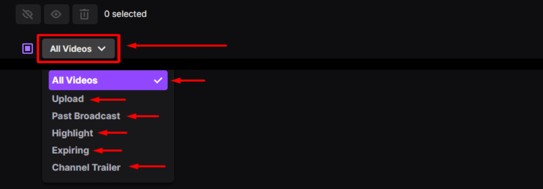 Twitch video category filter