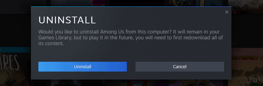 Uninstalling Steam game from system