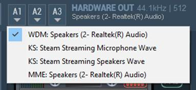 choosing main output device on Voicemeeter