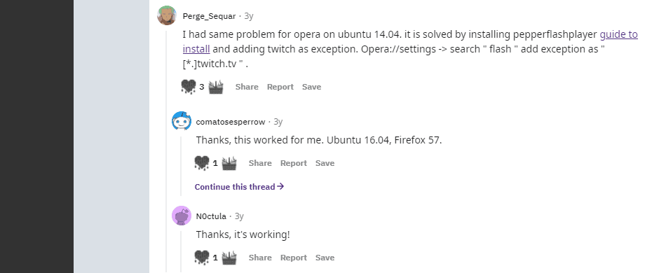 solution on related to Opera and Ubuntu