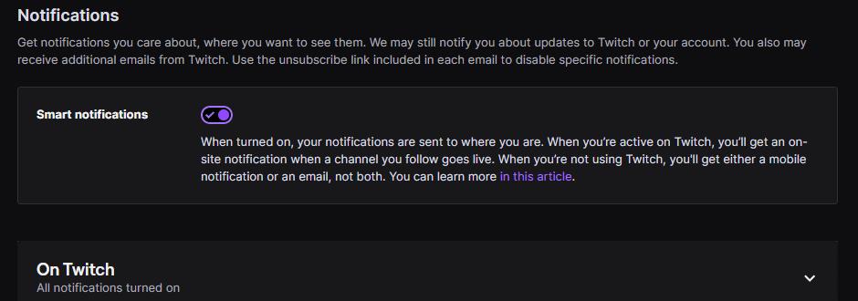 Twitch smart notifications
