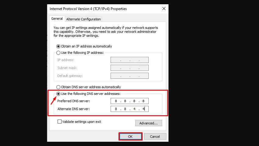 Windows Use the following DNS server addresses