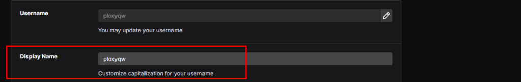 changing Twitch display name in Settings Profile panel