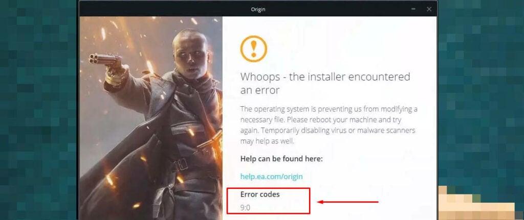 9:0 Error on Origin
