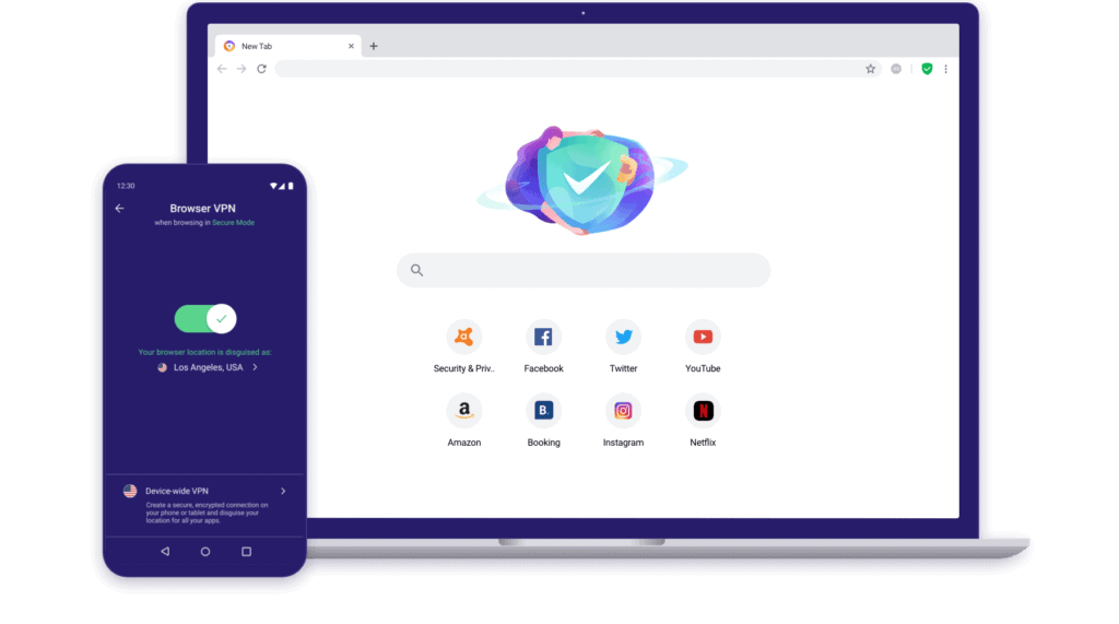 Avast Secure Browser homepage and phone VPN