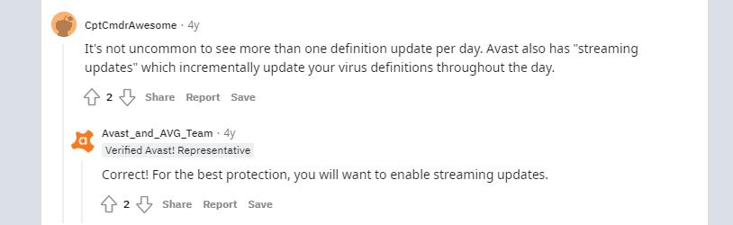 Avast virus definitions not updating