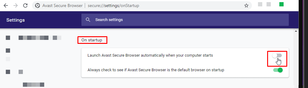 Disabling Avast Secure Browser auto launch