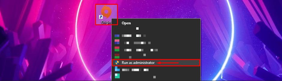 Origin Run as administrator