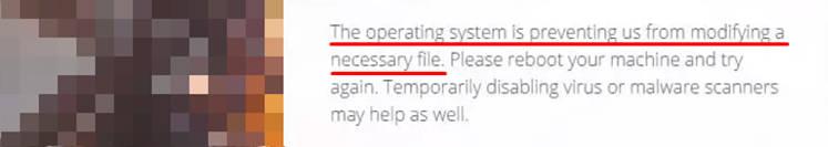 Origin lacking privileges to modify files on hard drive