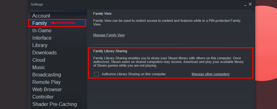 Steam setting Authorize Library Sharing on this computer