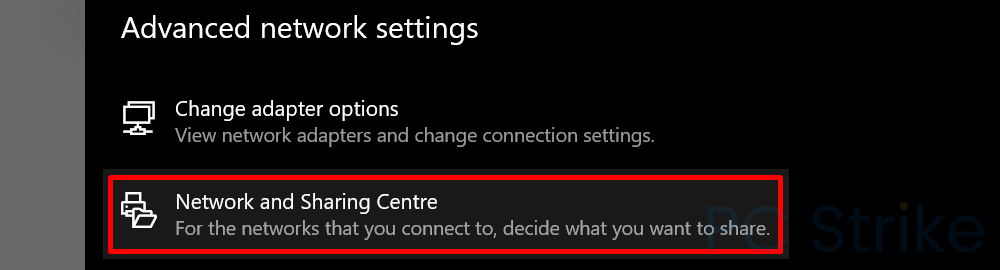 Windows 10 Network and Sharing Centre