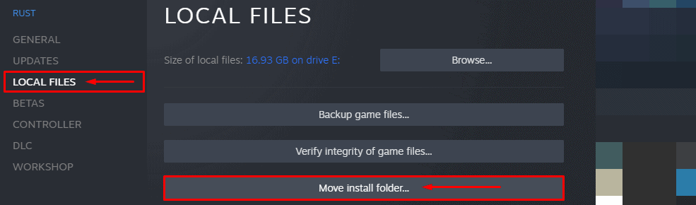 selecting Local Files and Move Install Folder in Steam