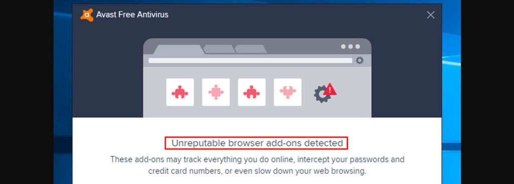 unreputable browser add ons detected in Avast