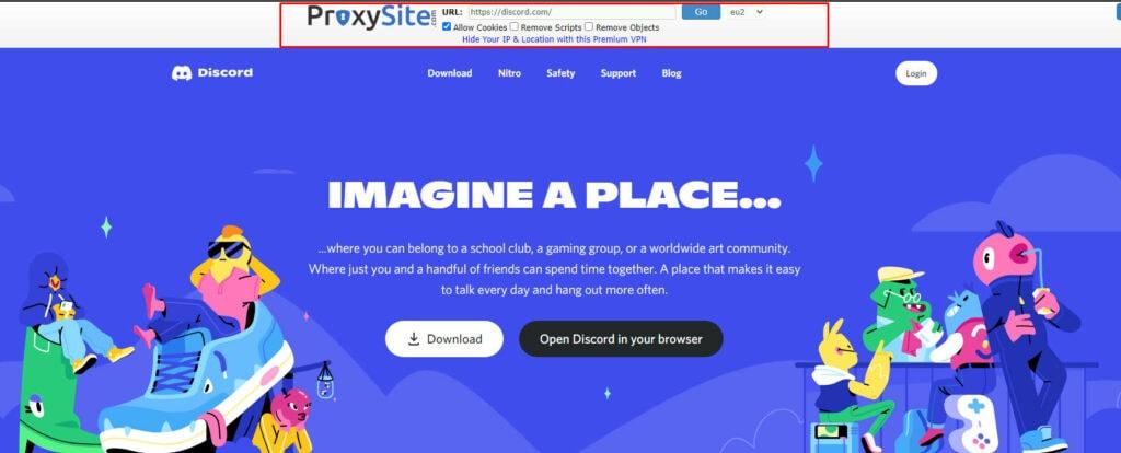Browsing Discord through ProxySite