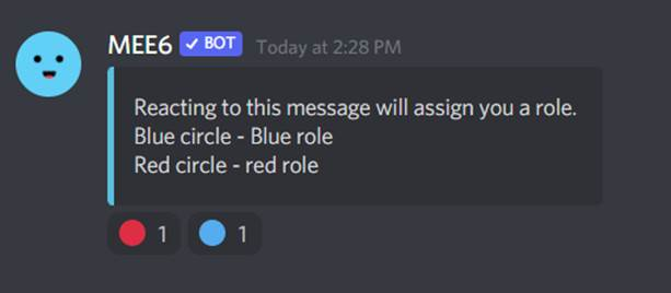 Discord MEE6 users select roles by reacting