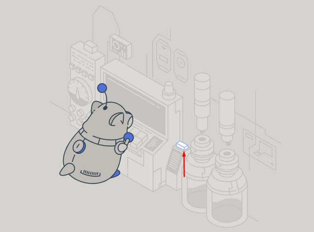 Discord Robo Hamster next to button