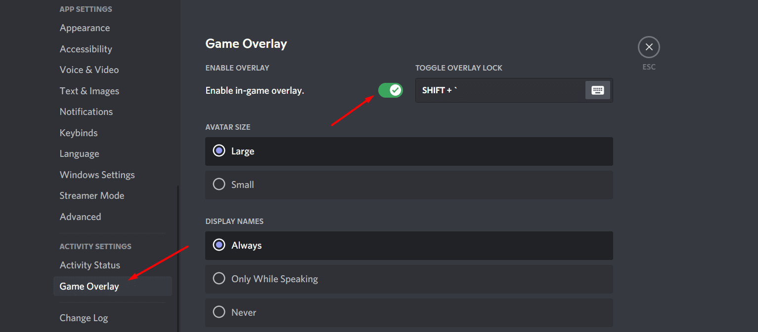 Enable in game overlay in Discord Game Overlay
