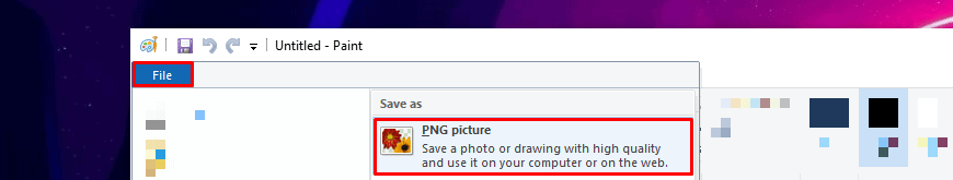 File Save As PNG in Microsoft Paint