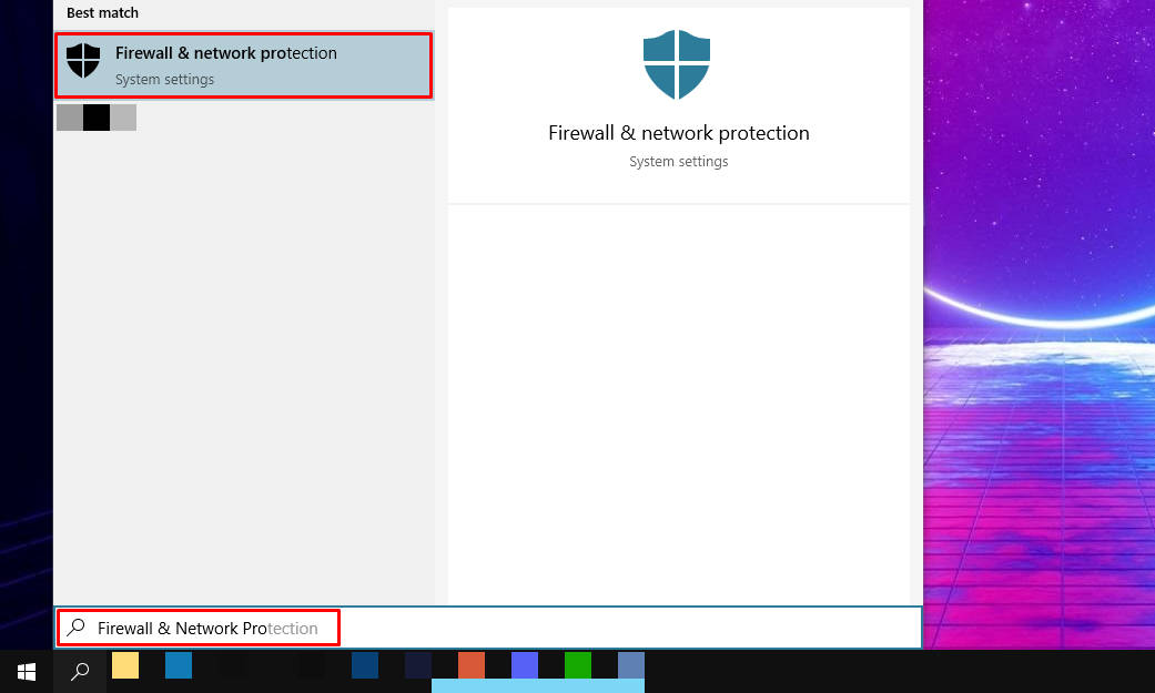 """Typing in """"Firewall & Network Protection"""""""