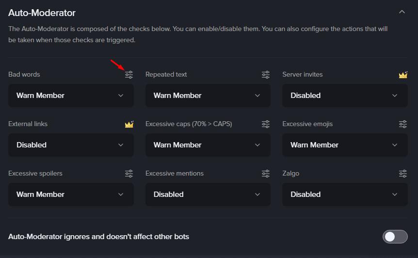 MEE6 Auto Moderator actions