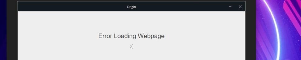 Origin Error Loading Webpage Problem – Windows 10